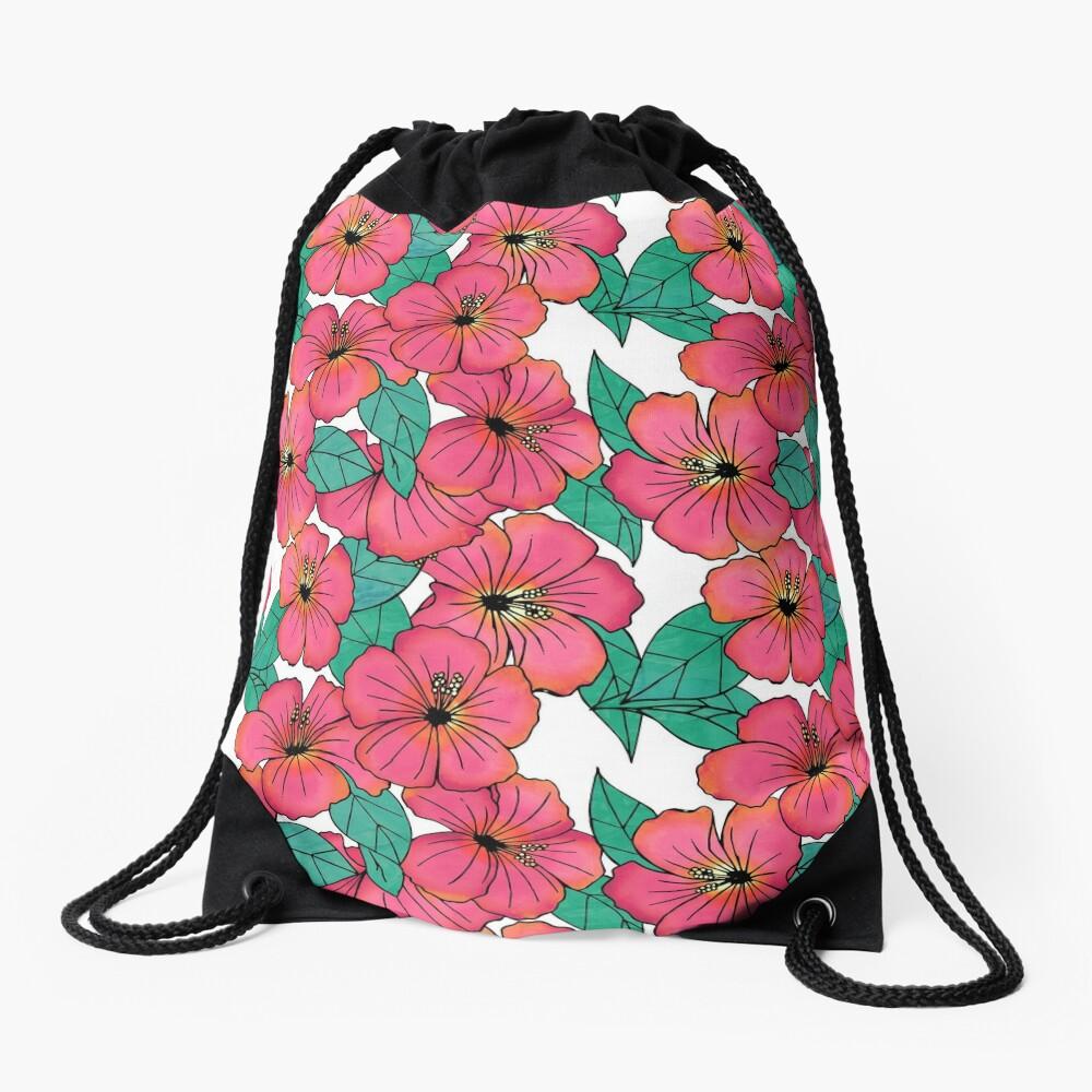 Tropical Floral Pink Hibiscus Pattern Drawstring Bag
