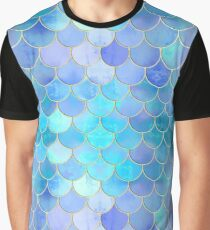 Aqua Pearlescent & Gold Mermaid Scale Pattern Graphic T-Shirt