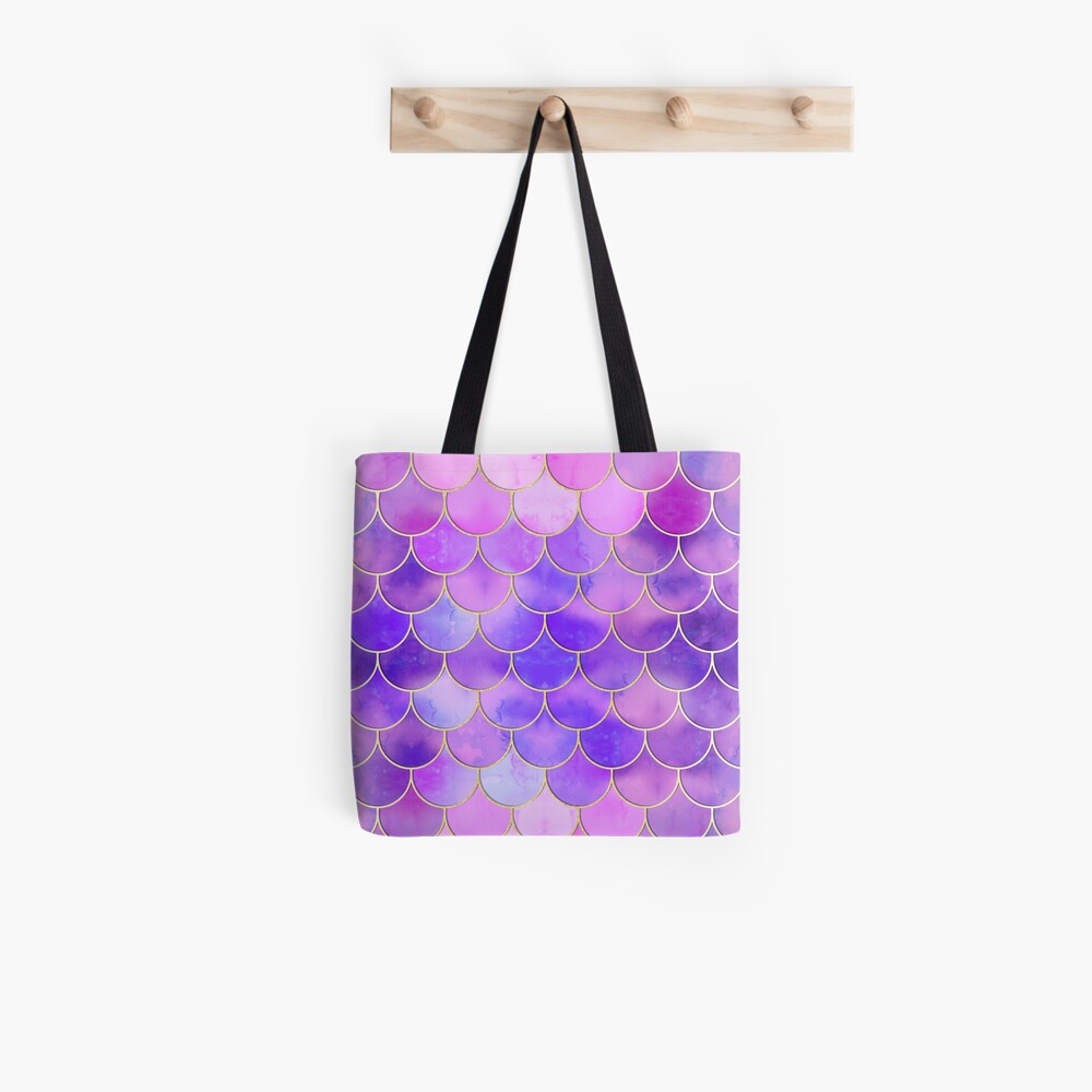 Ultra Violet & Gold Mermaid Scale Pattern Tote Bag