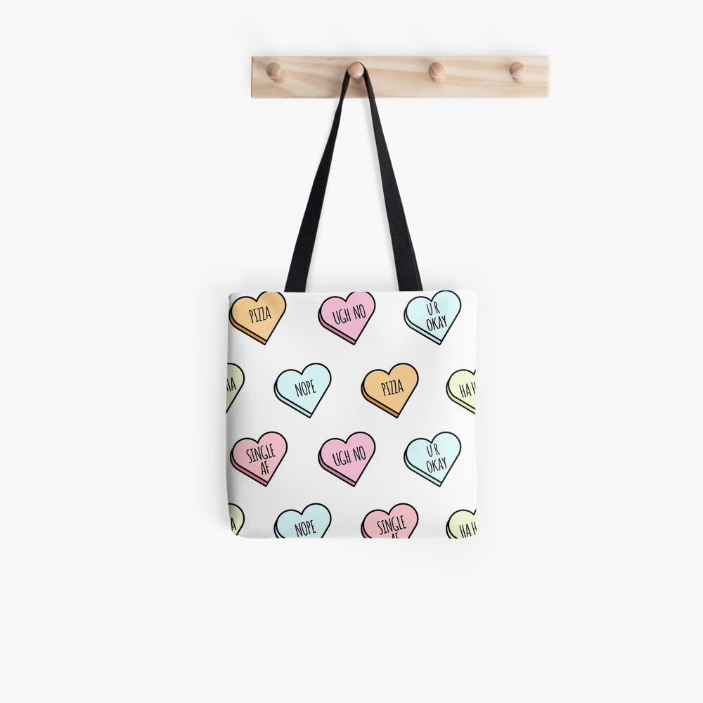 Sassy & Sarcastic Candy Heart Pattern Tote Bag