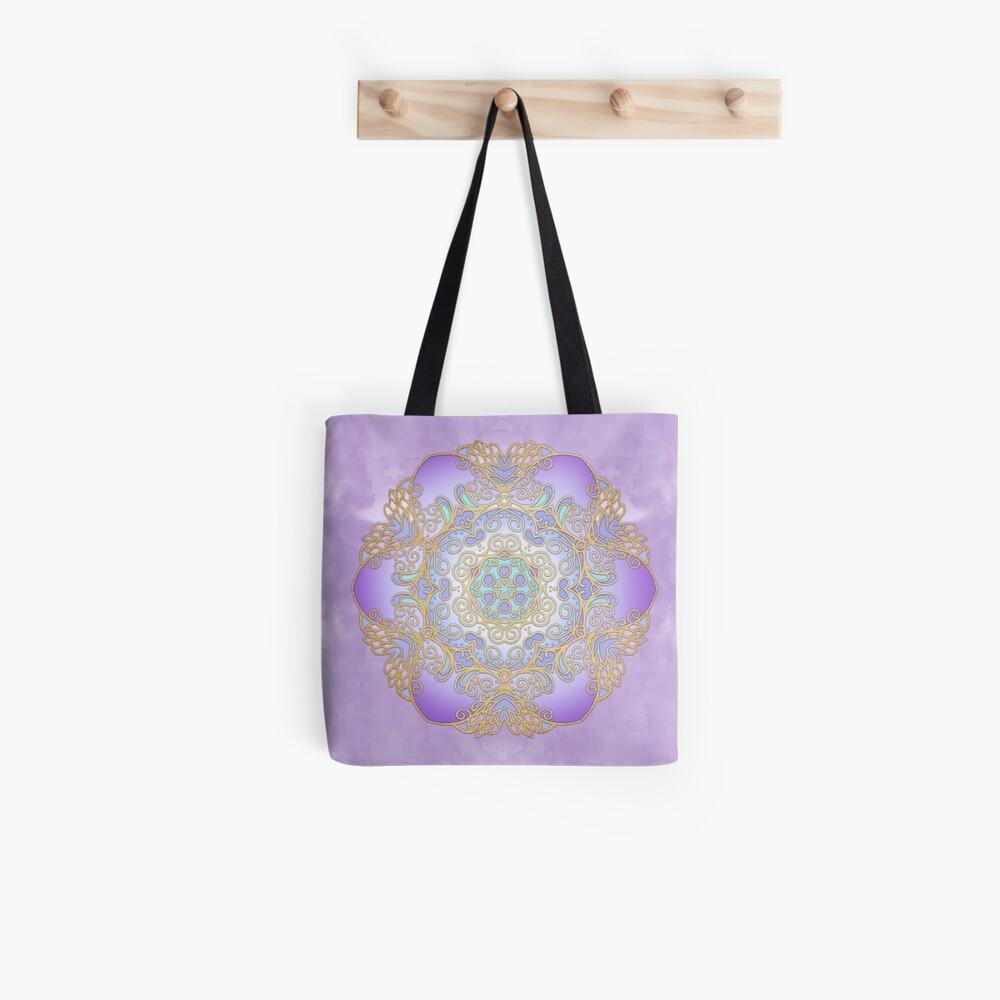 Purple & Gold Watercolour Mandala Tote Bag