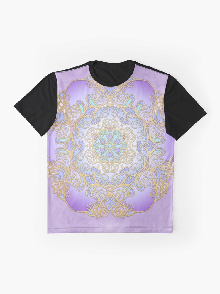 Alternate view of Purple & Gold Watercolour Mandala Graphic T-Shirt