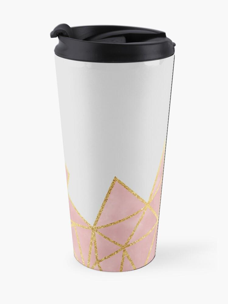 Alternate view of Pink Geometric & Gold Travel Mug