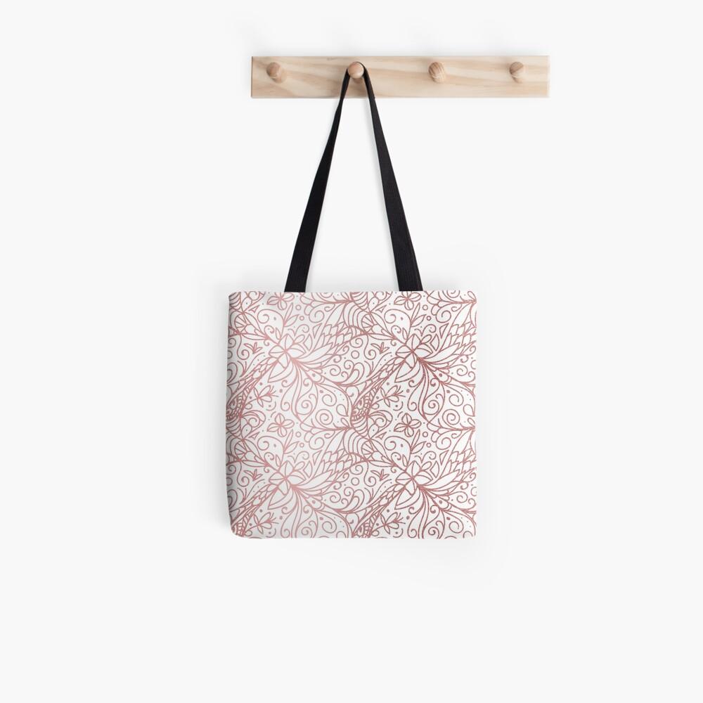 Rose Gold Shimmer Floral Tote Bag