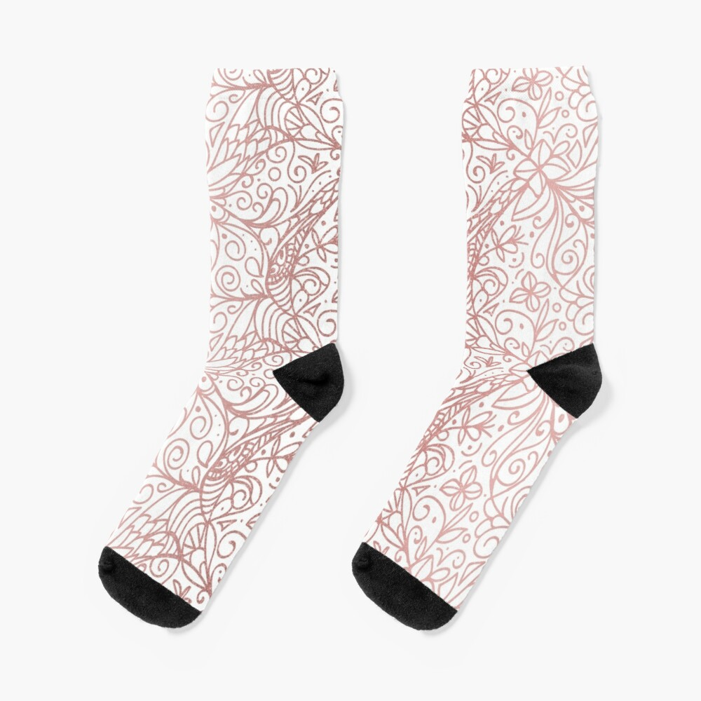 Rose Gold Shimmer Floral Socks