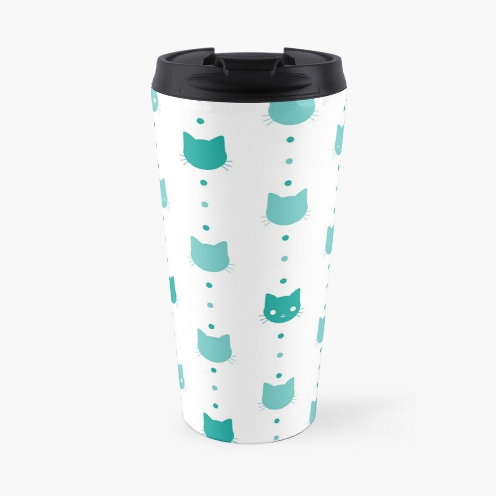 Blue Cat Faces Pattern Travel Mug