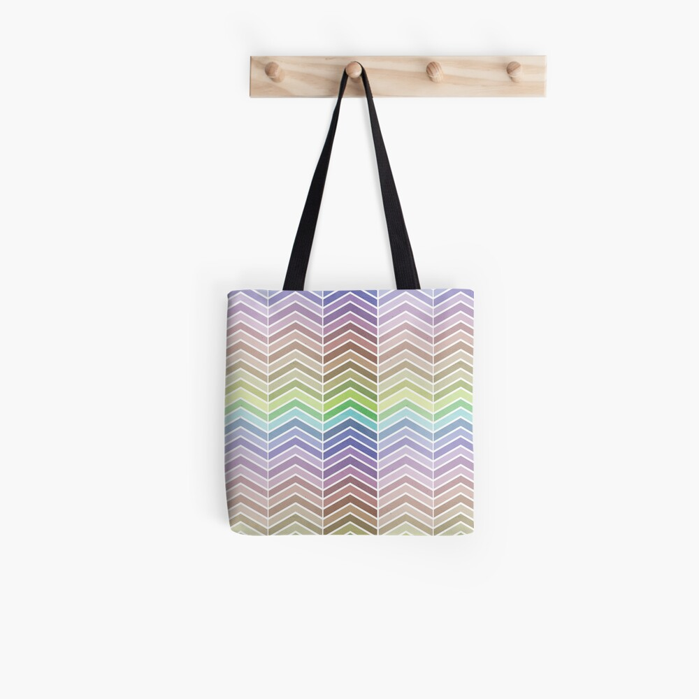 Rainbow and Textured Chevron Pattern Tote Bag