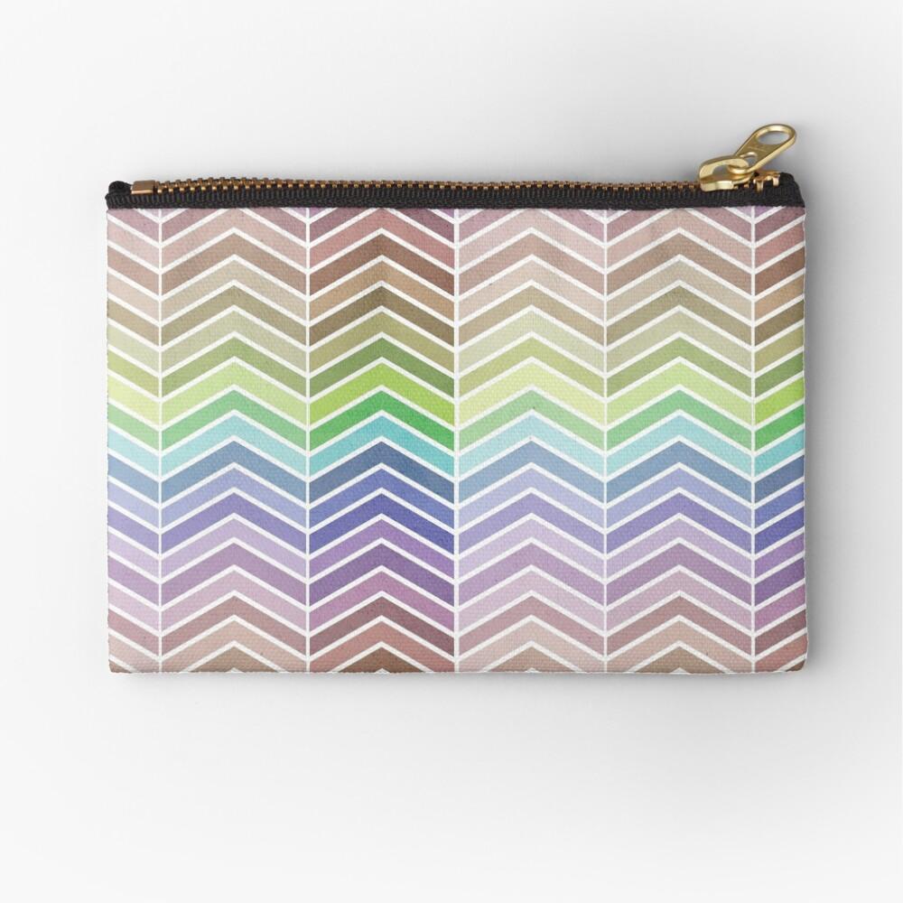 Rainbow and Textured Chevron Pattern Zipper Pouch