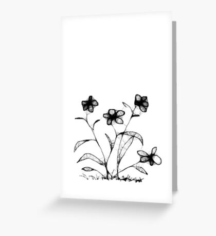 Four Flowers Scribble Greeting Card