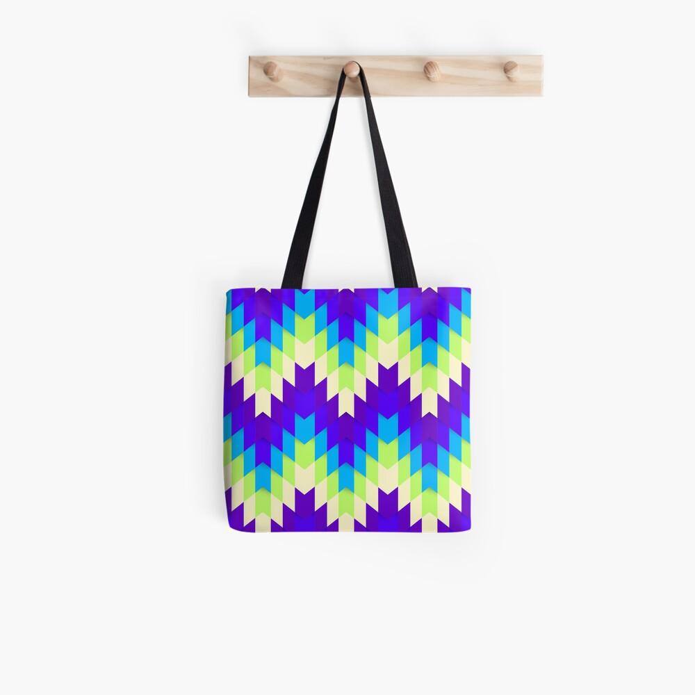Retro Green & Purple Jagged Geometric Pattern Tote Bag