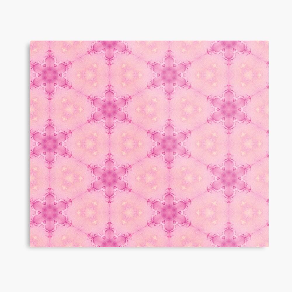 Pink Crystalline Watercolour Flowers Pattern Metal Print