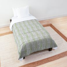 White Digital Lily of the Valley Floral Pattern Comforter
