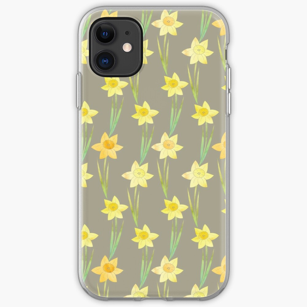 Yellow Watercolour Stemmed Daffodil Pattern on Khaki  iPhone Soft Case