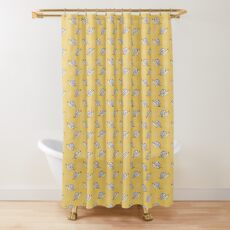 Illustrated Snail and Swirls Pattern Shower Curtain
