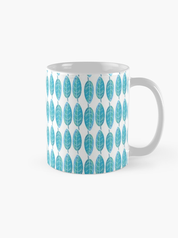 Alternate view of Blue Watercolor Leaf Mug