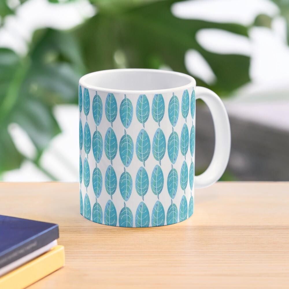 Blue Watercolor Leaf Mug