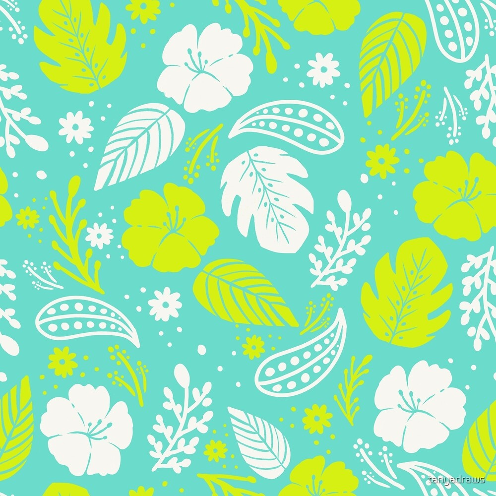 Foliage & Hibiscus Pattern - Blue & Green by tanyadraws