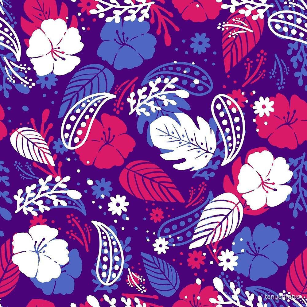Foliage & Hibiscus Pattern - Purple & Pink by tanyadraws