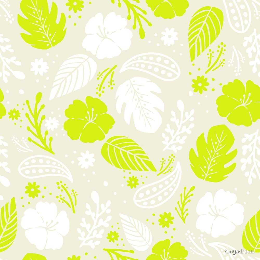 Foliage & Hibiscus Pattern - Green by tanyadraws