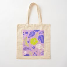 Foliage & Hibiscus Pattern - Lavender Cotton Tote Bag