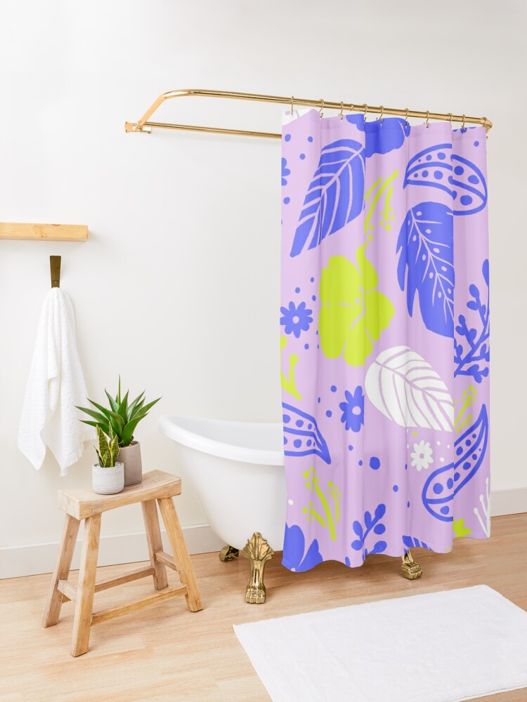Alternate view of Foliage & Hibiscus Pattern - Lavender Shower Curtain