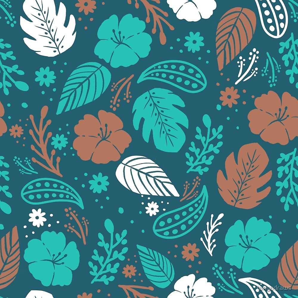 Foliage & Hibiscus Pattern - Navy by tanyadraws