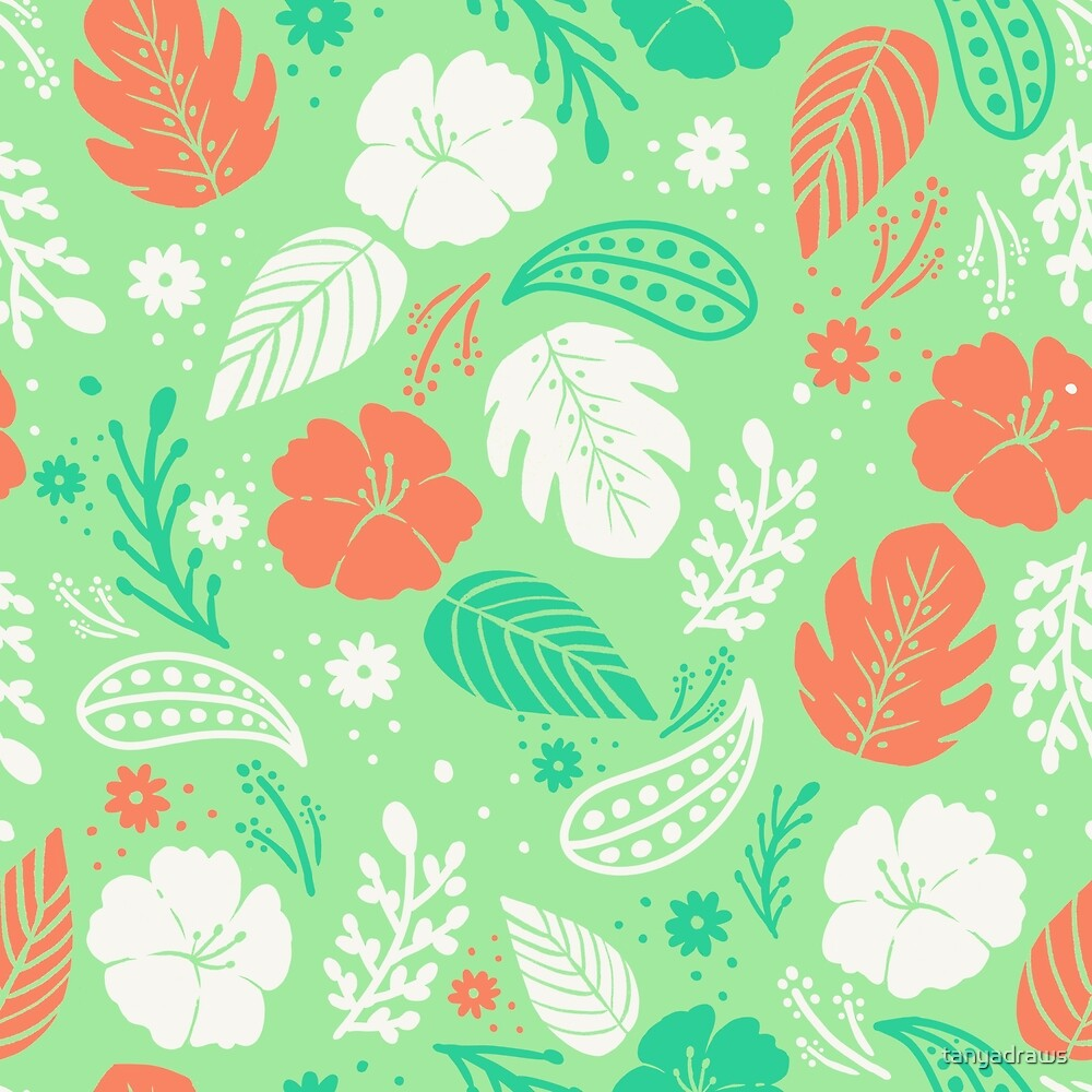 Foliage & Hibiscus Pattern - Mint by tanyadraws