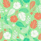 Foliage & Hibiscus Pattern - Mint by tanyadraws