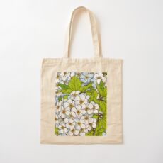 White Flower Blossoms Pattern Cotton Tote Bag