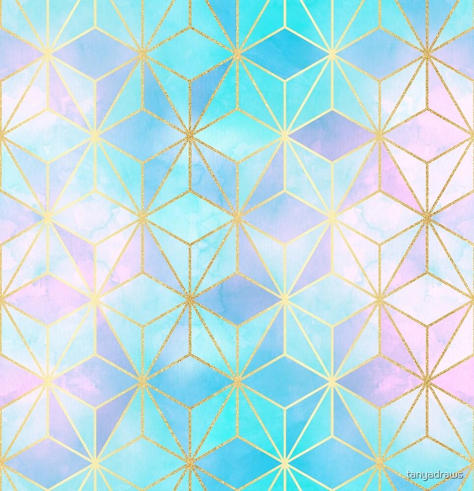 Iridescent & Gold Geometric Pattern by tanyadraws