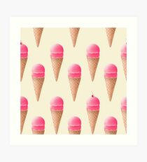 Strawberry Ice Cream Pattern - Cream Art Print