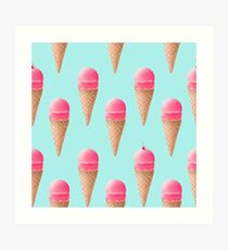 Strawberry Ice Cream Pattern - Blue Art Print
