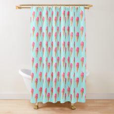 Strawberry Ice Cream Pattern - Blue Shower Curtain