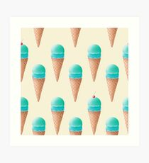 Blue Ice Cream Pattern - Cream Art Print