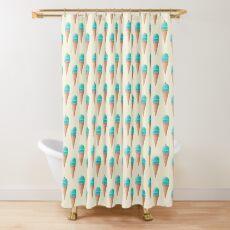 Blue Ice Cream Pattern - Cream Shower Curtain