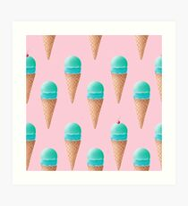 Blue Ice Cream Pattern - Pink Art Print