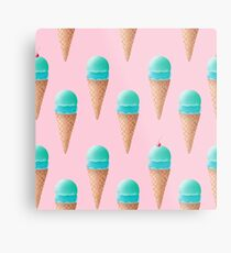 Blue Ice Cream Pattern - Pink Metal Print