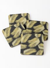 Tropical Gold Palm Leaves on Black Coasters