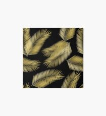 Tropical Gold Palm Leaves on Black Art Board Print