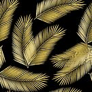 Tropical Gold Palm Leaves on Black by tanyadraws
