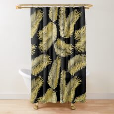 Tropical Gold Palm Leaves on Black Shower Curtain