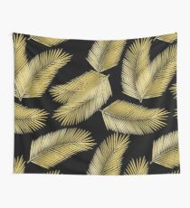Tropical Gold Palm Leaves on Black Wall Tapestry