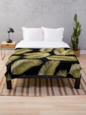 Tropical Gold Palm Leaves on Black Throw Blanket