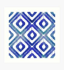 Navy Blue Ikat Pattern Art Print