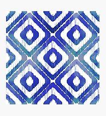 Navy Blue Ikat Pattern Photographic Print