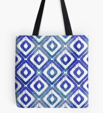 Navy Blue Ikat Pattern Tote Bag