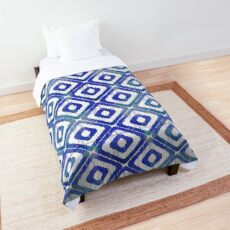 Navy Blue Ikat Pattern Comforter
