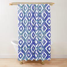 Navy Blue Ikat Pattern Shower Curtain