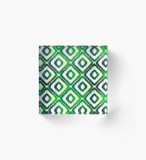 Emerald Green Ikat Pattern Acrylic Block