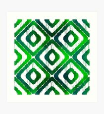 Emerald Green Ikat Pattern Art Print